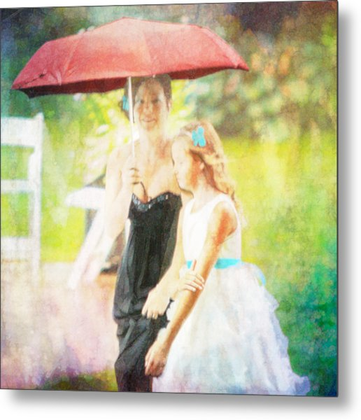Mother And Daughter In The Garden Metal Print