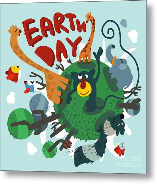 Mother Earth Day. Vector Illustration Metal Print