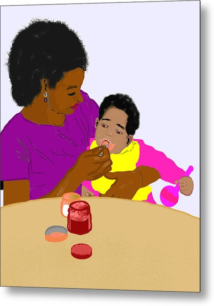 Mother Feeding Her Baby Metal Print by Pharris Art