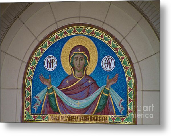 Mother Of God Mosaic Metal Print
