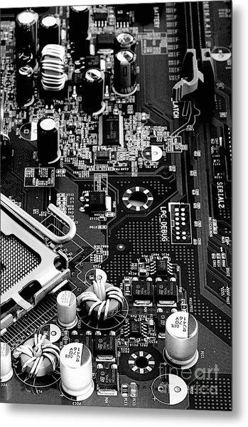 Motherboard Black And White Metal Print