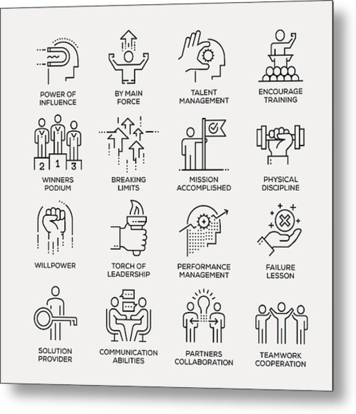 Motivation Icon Set - Line Series Metal Print by Enis Aksoy
