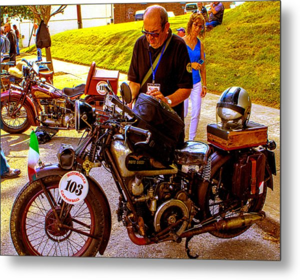 Moto Guzzi At Cannonball Motorcycle Metal Print