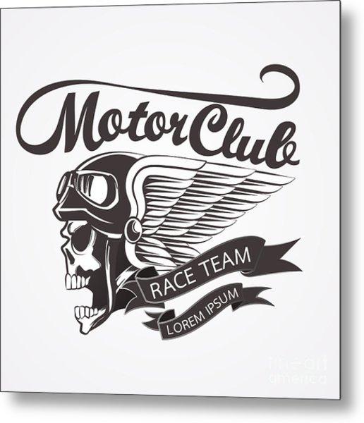 Motor Skull Crest Graphic. - Vector Metal Print