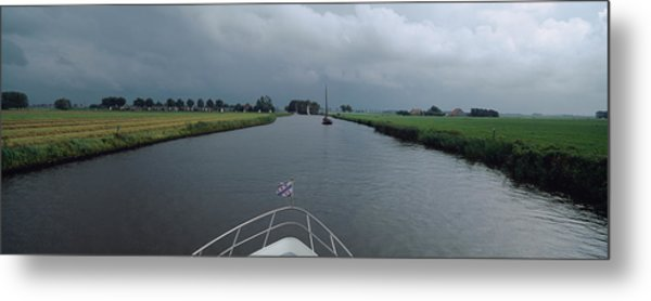 Motorboat In A Canal, Friesland Metal Print