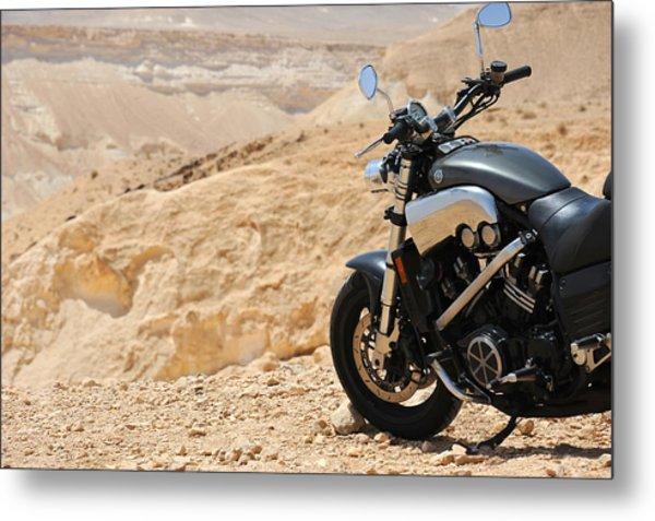 Motorcycle In A Desert Metal Print