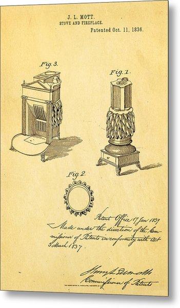 Mott Stove Patent Art 1836 Metal Print