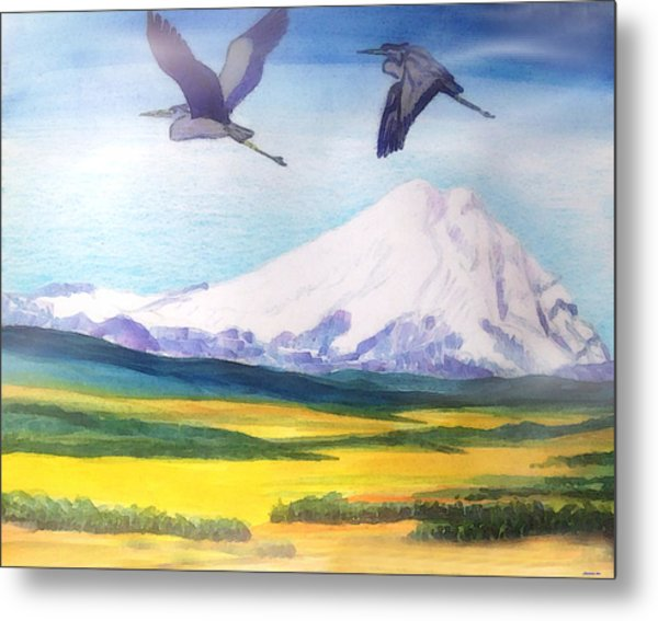 Mount Elbrus Watching Blue Herons Fly Over Sunflower Fields Metal Print