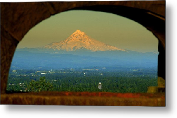 Mount Hood Framed Metal Print by DerekTXFactor Creative