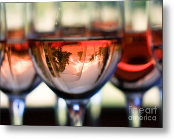 Mount Hood In A Wine Glass Metal Print by Cari Gesch