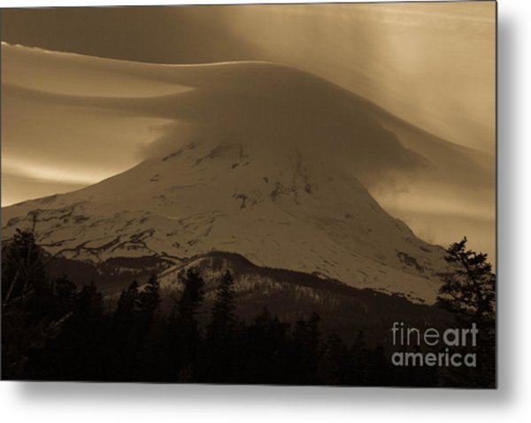 Mount Hood In The Clouds Metal Print by Cari Gesch