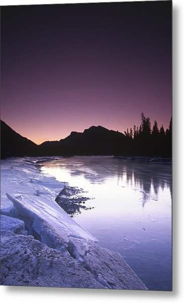 Mount Mcgillvary Silhouetted Behind An Icy Bow River Metal Print
