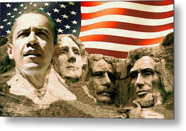 Barack Obama On Mount Rushmore - American Art Poster Metal Print