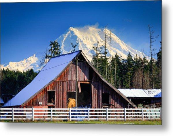 Mount Rainier And Barn Metal Print