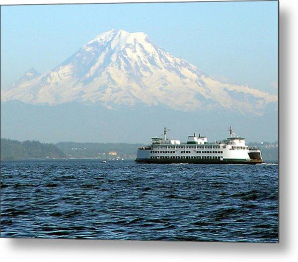 Mount Rainier And Ferry Metal Print