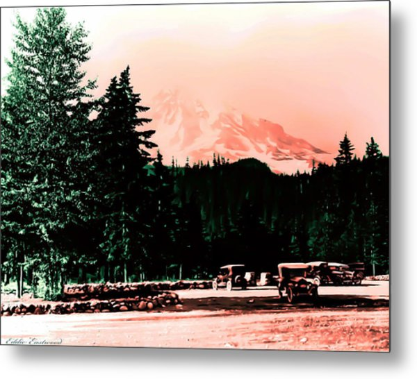 Mount Rainier With Vintage Cars Early 1900 Era... Metal Print