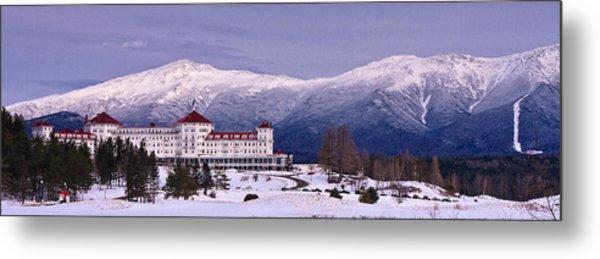 Metal Print featuring the photograph Mount Washington Hotel Winter Pano by Jeff Sinon