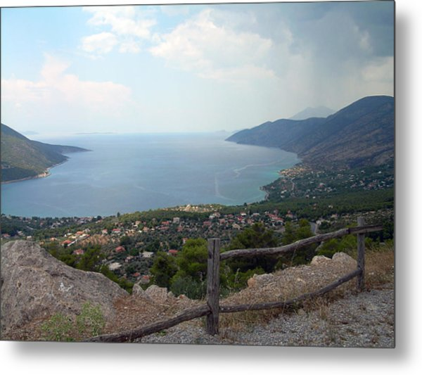 Mountain And Sea View In Greece Metal Print