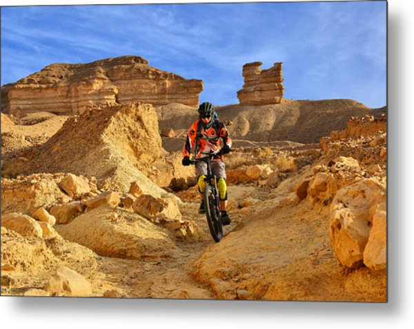Mountain Biker In A Desert Metal Print