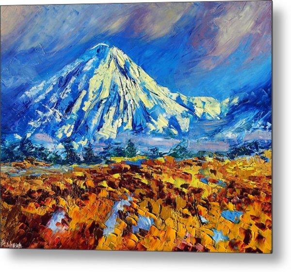 Mountain Painting Fine Art By Ekaterina Chernova Metal Print