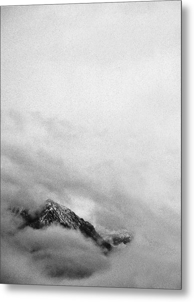 Mountain Peak In Clouds Metal Print