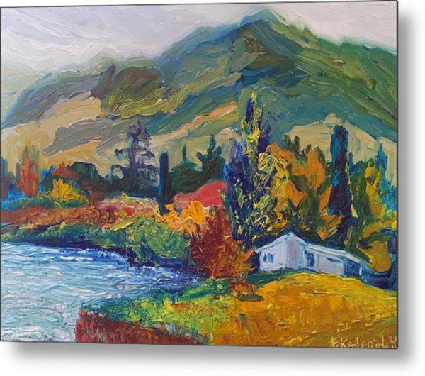 Mountain Painting Oil Landscape Ekaterina Chernova Metal Print