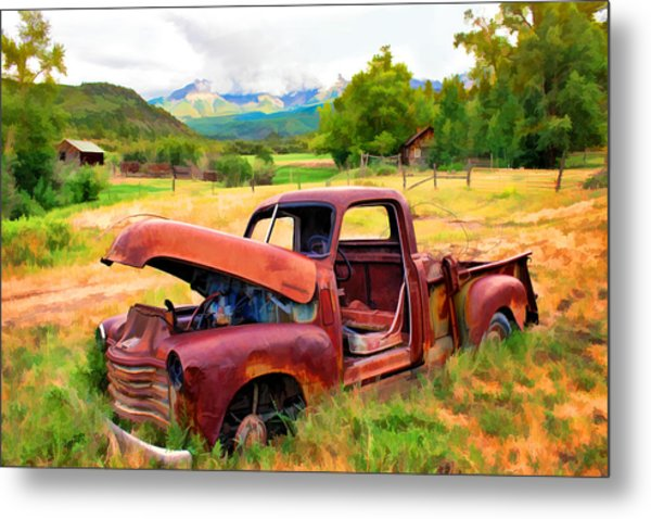 Mountain Ranch Truck Metal Print