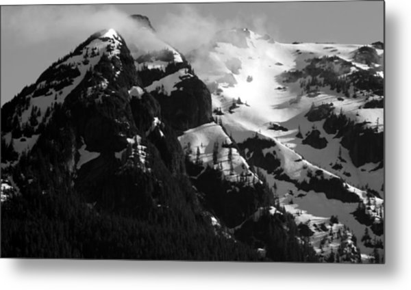 Mountain Range Black And White Two Metal Print by Diane Rada