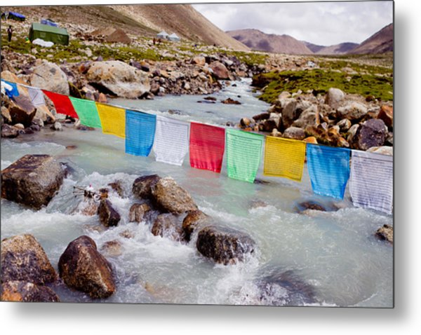 Mountain River And Buddhist Flags Lungta  Metal Print