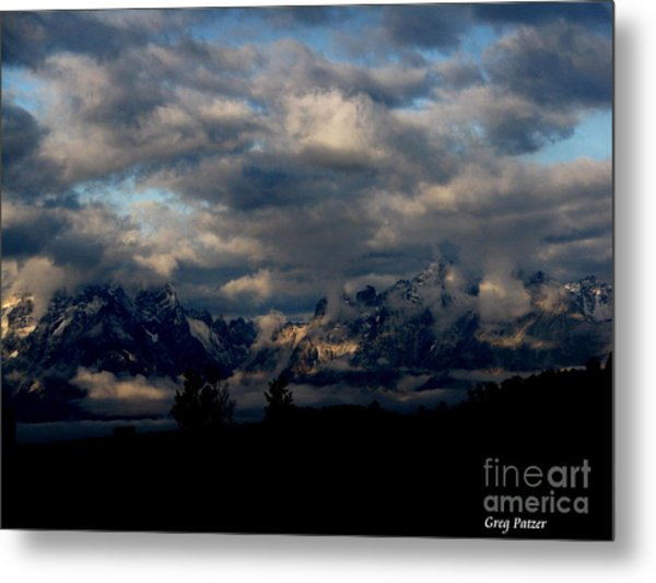 Mountain Silhouette Metal Print by Greg Patzer