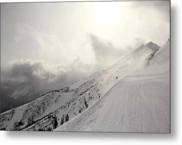 Mountain Snow Storm Approaching Ski Run Metal Print