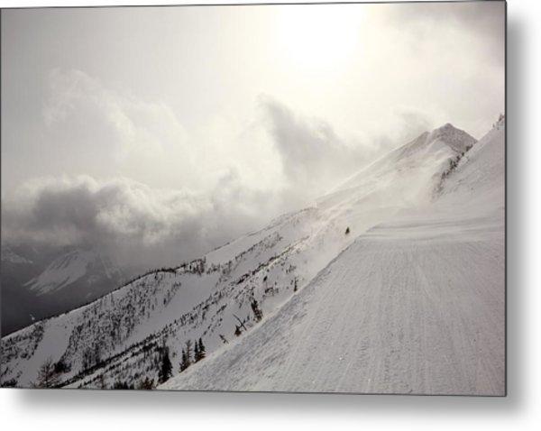 Mountain Snow Storm Approaching Ski Run Metal Print