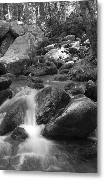 Mountain Stream Monochrome Metal Print