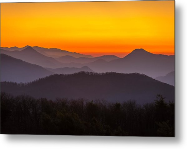 Mountain Sunset In Tennessee Metal Print