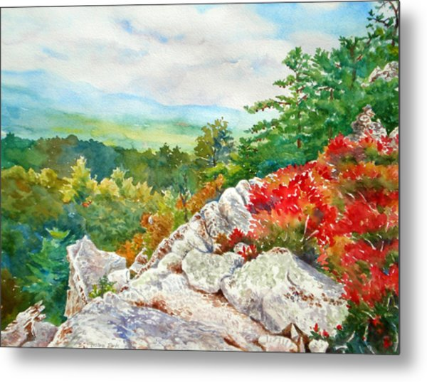 Mountain View From Rocky Cliff With Fall Colors Metal Print by Mira Fink