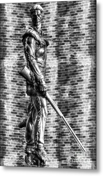 Mountaineer Statue Bw Brick Background Metal Print
