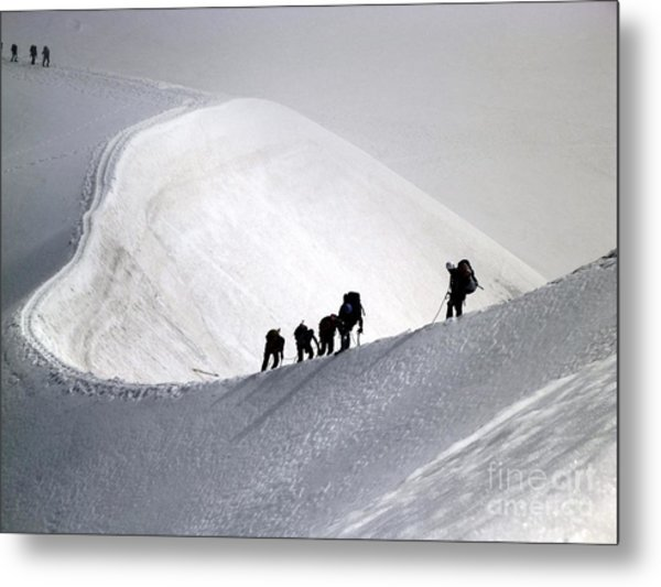 Metal Print featuring the photograph Mountaineers To Conquer Mont Blanc by Cristina Stefan