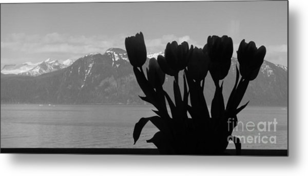 Mountains And Tulips Metal Print by Laura  Wong-Rose