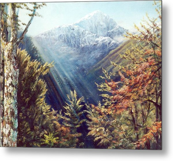 Mountains In The Mist Metal Print by Peter Jean Caley
