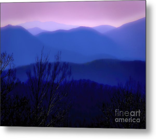 Mountains Of Blue Metal Print