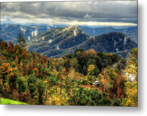 Mountains Smoking Metal Print by Heavens View Photography