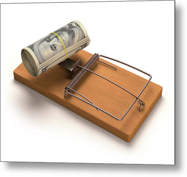 Mouse Trap With Bank Notes Metal Print by Ktsdesign