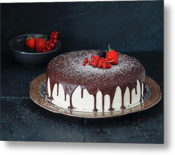 Mousse Cake With Chocolate Icing And Metal Print by Eugene Mymrin