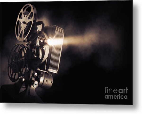 Movie Projector On A Dark Background Metal Print