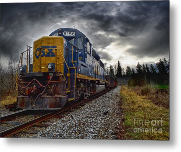 Moving Along In A Train Engine Metal Print