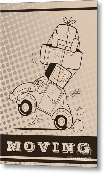 Moving Car Metal Print by Fun Way Illustration