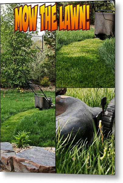 Mow The Lawn Metal Print