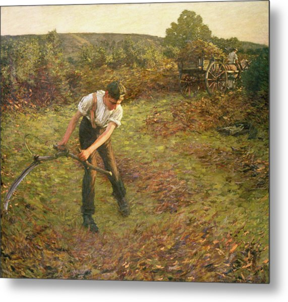 Mowing Bracken Metal Print