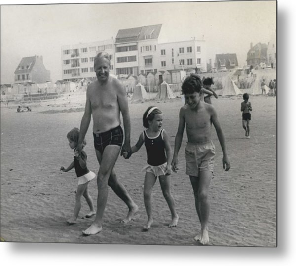 Mr. Edward Heath Takes Hovercraft Trip To French Metal Print by Retro Images Archive