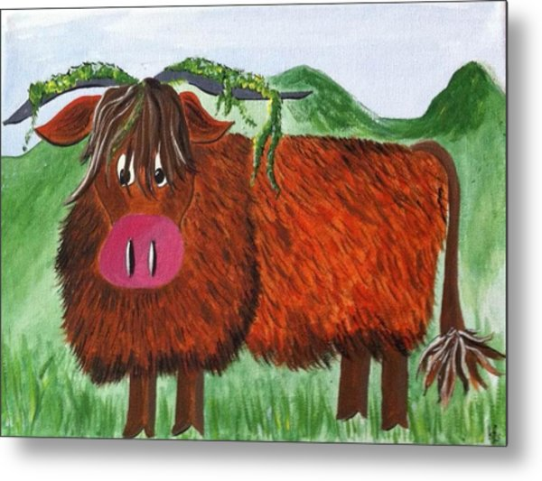 Mr Highland Cow 2 Metal Print